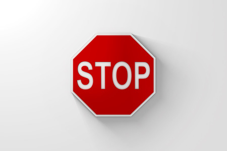 Red Stop Sign with Shadow over Bright White Background. 3D Illustration.  Lots of space for cropping. Banco de Imagens