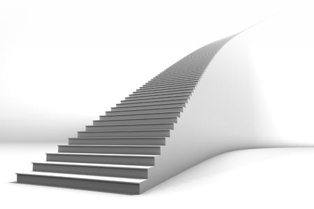 Een grote witte gebogen trap op heldere witte achtergrond. Veel negatieve ruimte voor tekst en afbeeldingen. Geweldig voor zakelijke groei of conceptuele toepassingen.