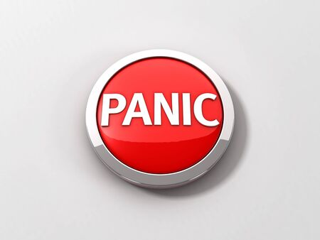 A red reflective panic button with a chrome ring on a white background.  3D illustration.  San Serif panic text.