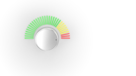 A chrome audio volume knob turning up with a green, yellow, and red spectrum LED light meter over a bright white background.  3D Illustration.