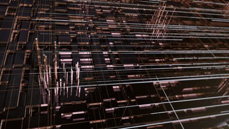 Detailed high-tech geometric abstract background.  3D illustration.  Great for science, technology, and industrial uses.