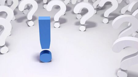 A blue exclamation mark surrounded by a group of white question marks on a white background.  A 3D illustration. Standard-Bild