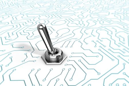 A chrome reflective toggle switch on a blue and white circuit board background.  A 3D illustration. Standard-Bild