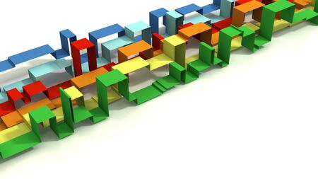 Multi Colored 3D Illustrated Geometric Ribbons on a White Background.  Diagonals. Standard-Bild