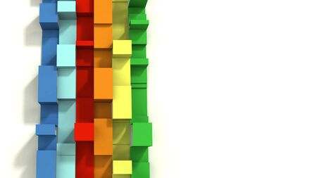 Multi Colored 3D Illustrated Geometric Ribbons on a White Background.  Vertical orientation.  Negative Space. Standard-Bild