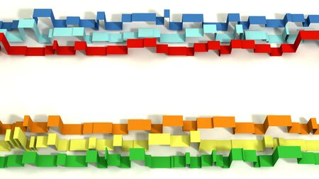 Multi Colored 3D Illustrated Geometric Ribbons on a White Background.  Split Screen with white space in the center. Banco de Imagens