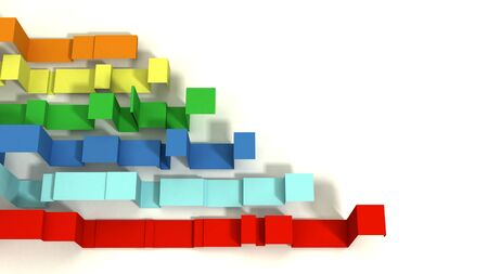 Horizontal Graph of Multi Colored 3D Illustrated Geometric Ribbons on a White Background.  Negative Space.