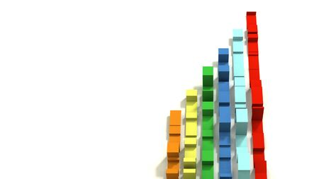 Vertical Graph of Multi Colored 3D Illustrated Geometric Ribbons on a White Background.  Negative Space.