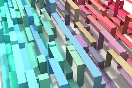 A 3D Illustrated pastel rainbow colored geometric ribbon background. Diagonal from upper left to lower right.