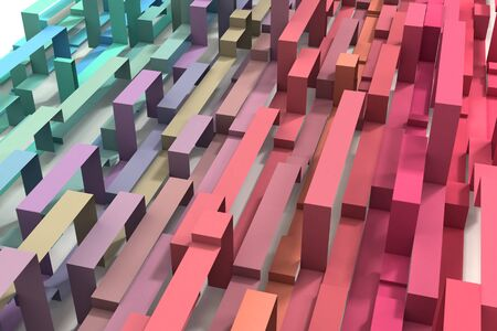 A 3D Illustrated pastel rainbow colored geometric ribbon background. Diagonal from lower right to upper left. Standard-Bild