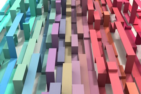 A 3D Illustrated pastel rainbow colored geometric ribbon background. Vertical orientation.