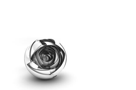 A hi-tech abstract white reflective sphere with multiple nested layers over a white background  Lots of clean bright negative space for copy.