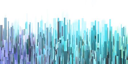 Random abstract colorful rectangular shapes. A 3D illustration.  Representation of a city skyline. Standard-Bild