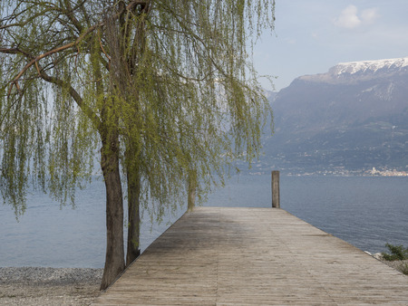 trekking on garda lake mountains nature e landscape from the pier Stock Photo