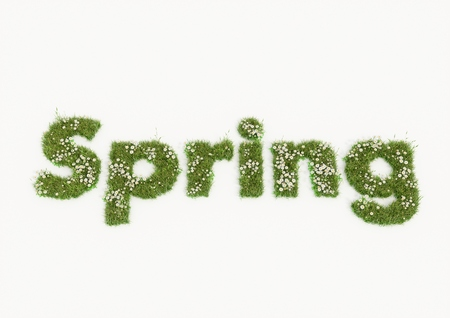 Spring word typed by flowers and grass