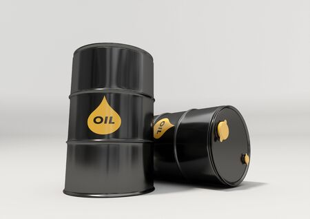 airtight: Black metal oil barrels on white background