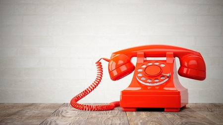 3d render red vintage phone isolated on white Stock Photo