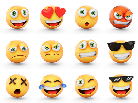 3D rendering set of emoji isolated on white Banco de Imagens