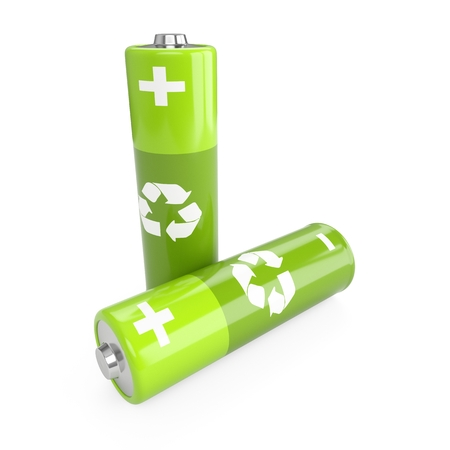 3d rendering green batteries on white background Stock Photo