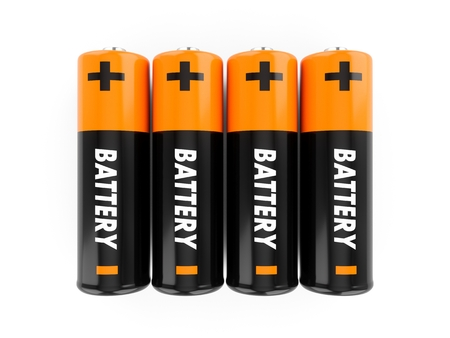 3D Rendering batteries on white background 写真素材