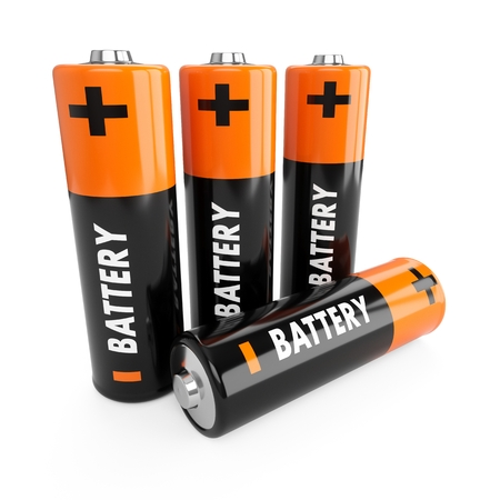 3D Rendering batteries on white background