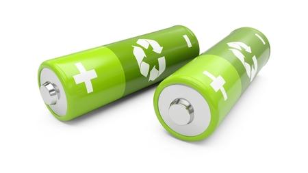 3d rendering green batteries on white background Stok Fotoğraf