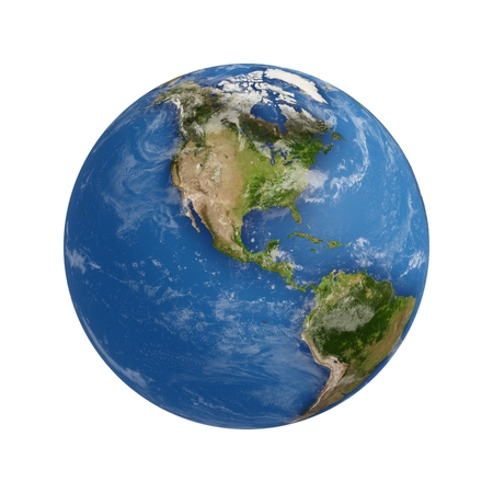 3D Planet Earth Rendering isolated on white Stockfoto
