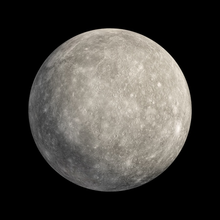 3D Rendering Mercury Planet isolated on black