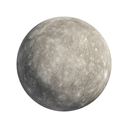 3D Rendering Mercury Planet isolated on white