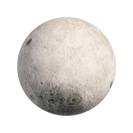 3D Rendering Moon isolated on white