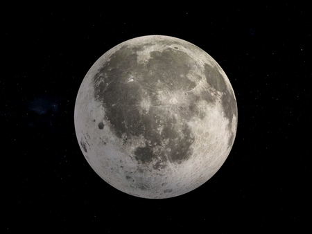 3D Rendering Moon isolated on black