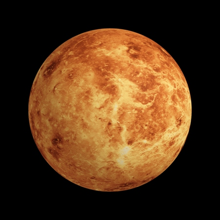 3D Rendering Venus Planet isolated on black Stockfoto