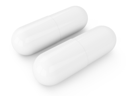 3D rendering capsules pills isolated on white Stok Fotoğraf