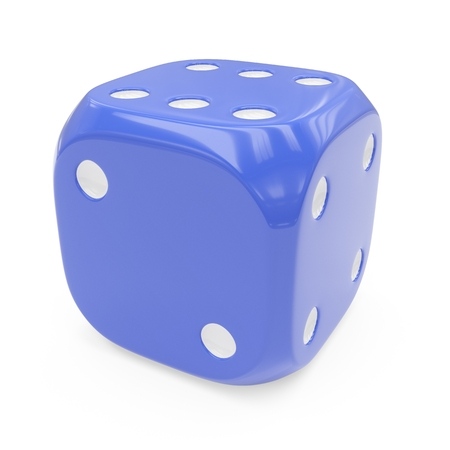 3d rendering blue dice isolated on white background