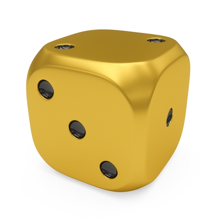3d rendering golden dice isolated on white background