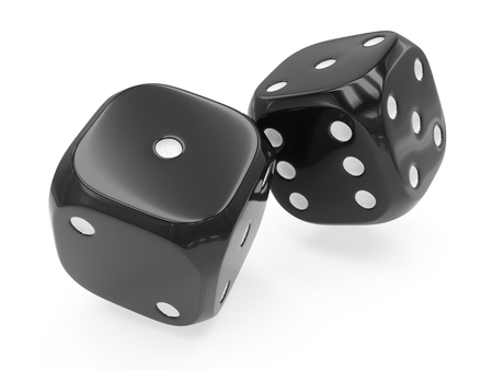 3d rendering two black dices isolated on white background