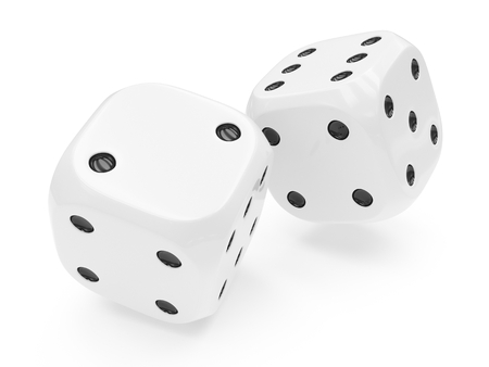 3d rendering two white rolling dices isolated on white background