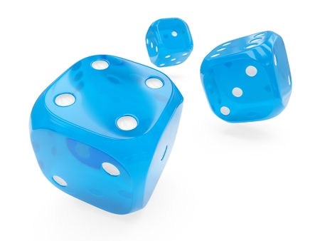 3d rendering three blue glass dices isolated on white background