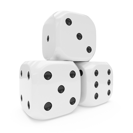 3d rendering of three white dices isolated on white background
