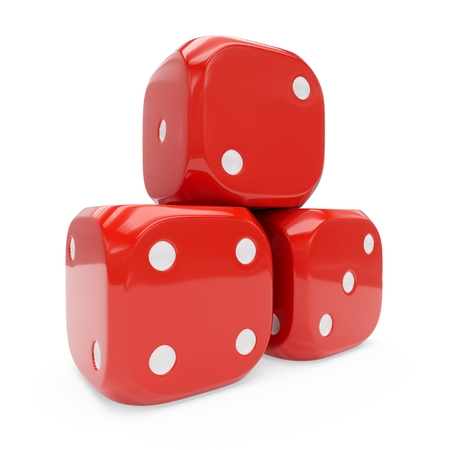 3d rendering three red dice isolated on white background