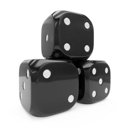 3d rendering three black dice isolated on white background Stockfoto