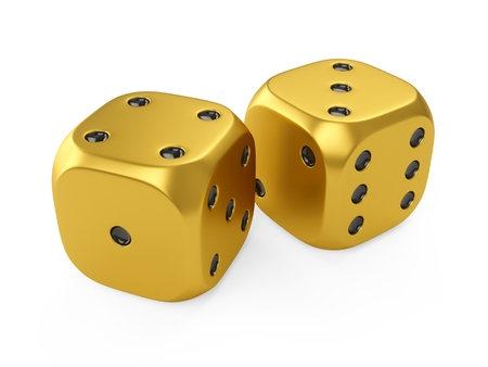 3d rendering two golden dices isolated on white background