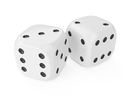 3d rendering two white dices isolated on white background