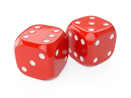3d rendering two red dice isolated on white background