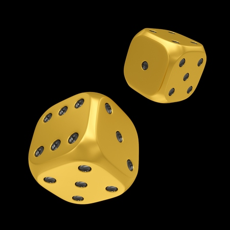 3d rendering two golden dices isolated on black background