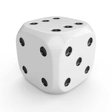 3d rendering white dice isolated on white background Stockfoto