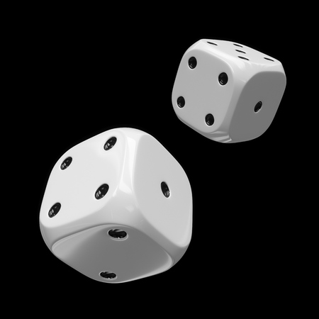 3d rendering two white dices isolated on black background Stockfoto