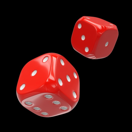 3d rendering two red dice isolated on black background
