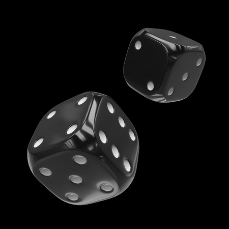 3d rendering two black dice isolated on black background