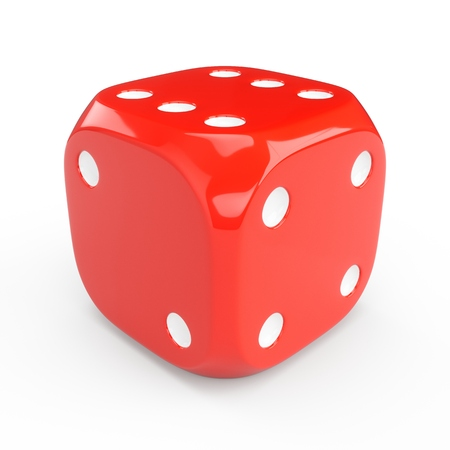 3d rendering red dice isolated on white background